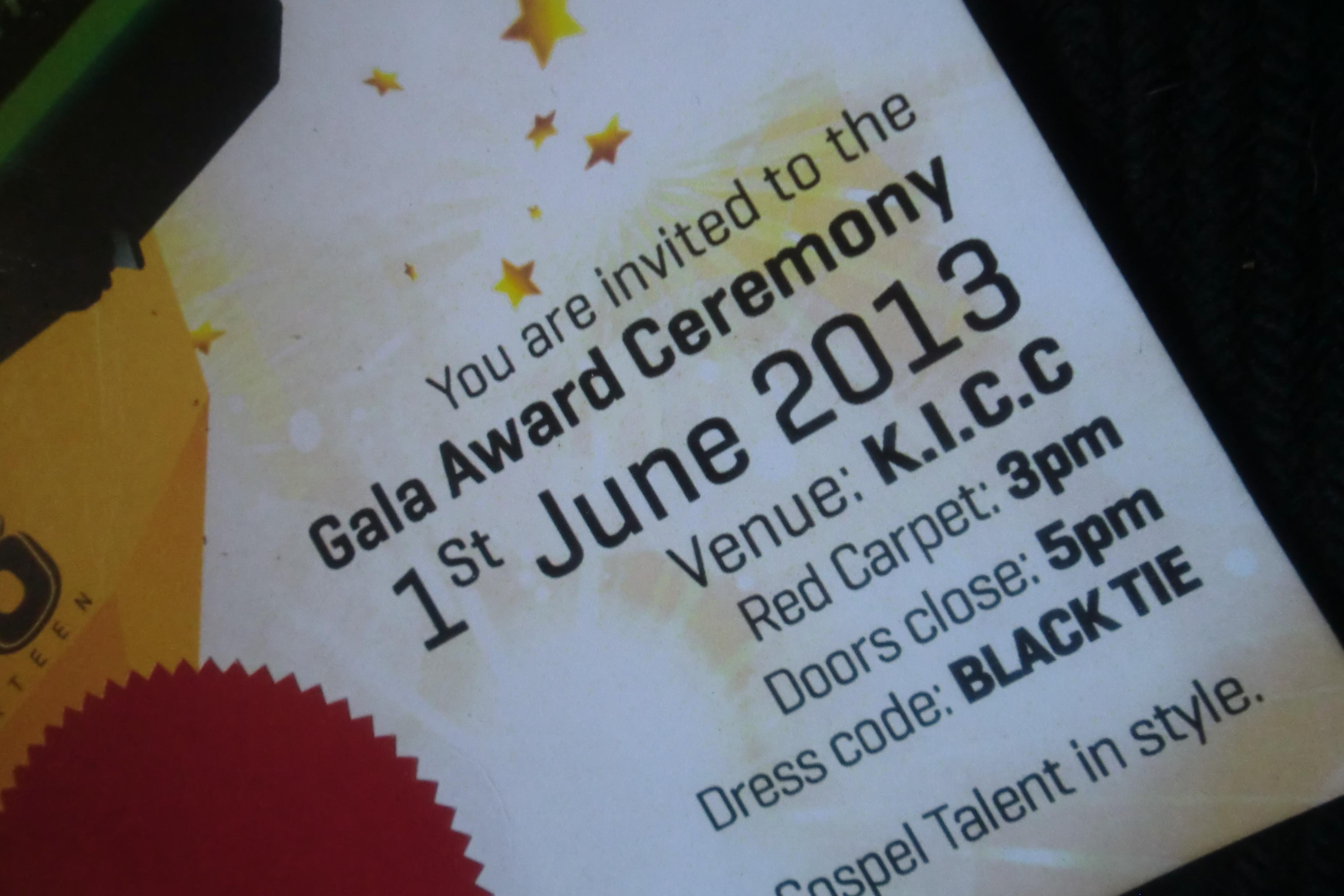 Invite to the Gala Ceremony